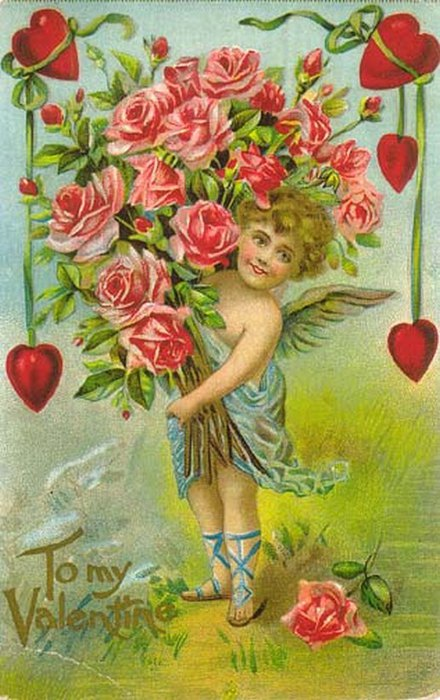 Винтажные открытки к Дню святого Валентина часть третья, валентинки, винтажные открытки