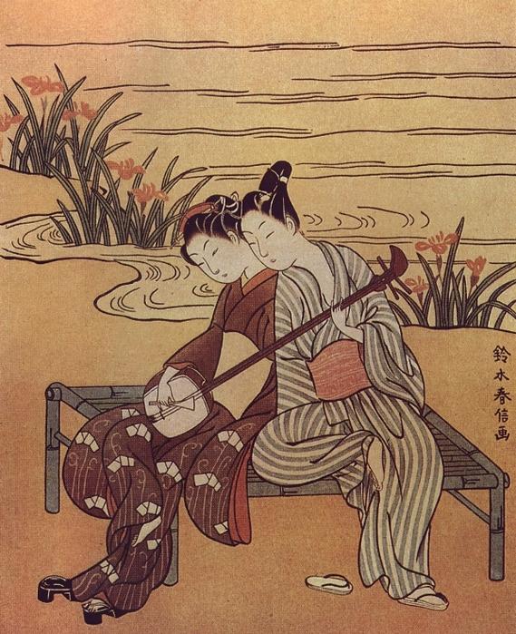 Харунобу. Влюбленные, играющие на одном сямисэне. Около 1766 (569x700, 385Kb)