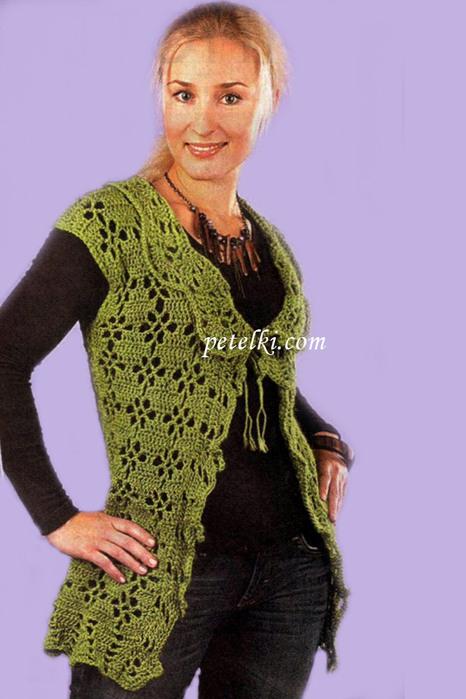 Длинный жилет Вязание крючком и спицами .  Схемы цветов из бисера.  Вязание салфеток (работы.