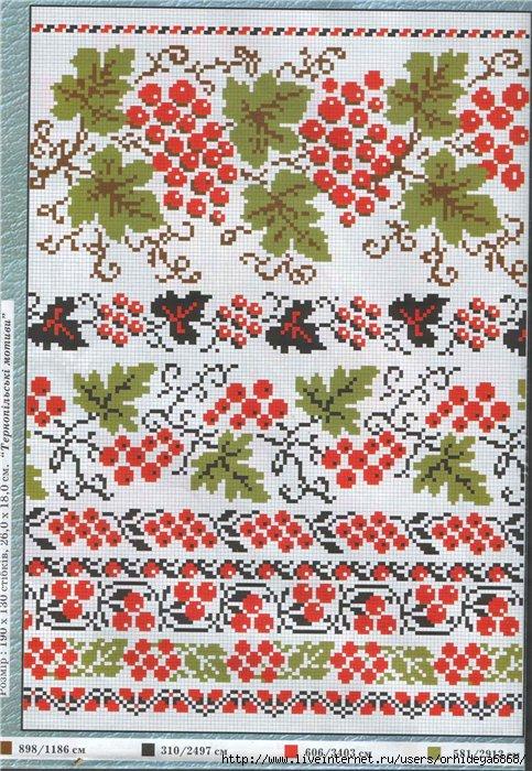 Подборка 17-ти схем вышивок украинских женских сорочек.  Схемы цветные, вышивка - крестом.