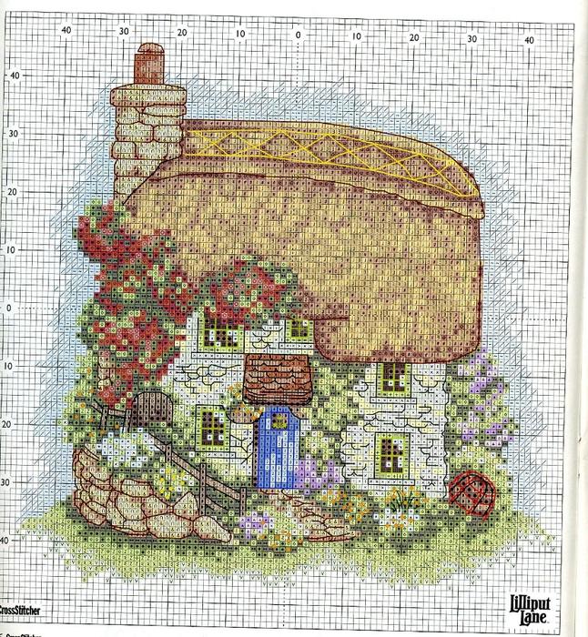 Вышивка крестиком дома домики 52