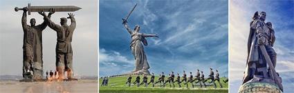Триптих памятников ВОВ с мечами