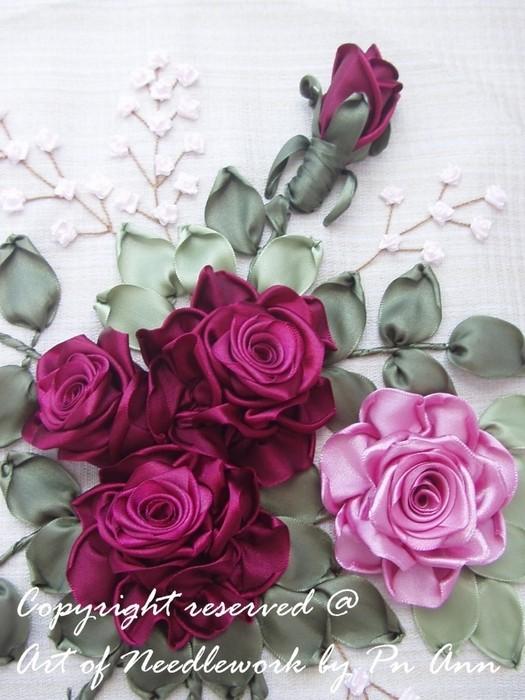 Объемные розы из лент своими руками