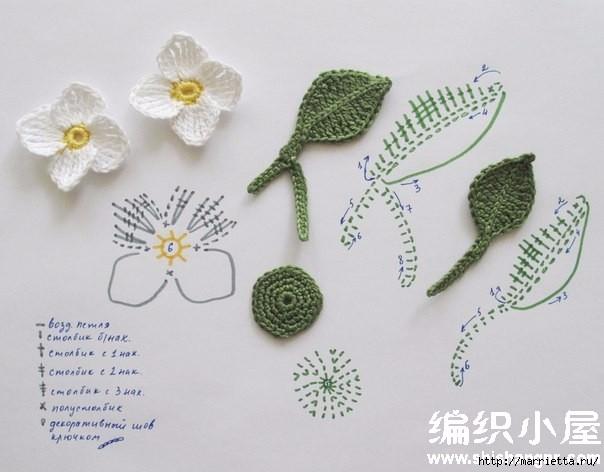 Цветы крючком. Схемы (2) (604x472, 125Kb)