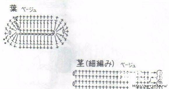 Цветы крючком. Схемы (4) (580x307, 69Kb)