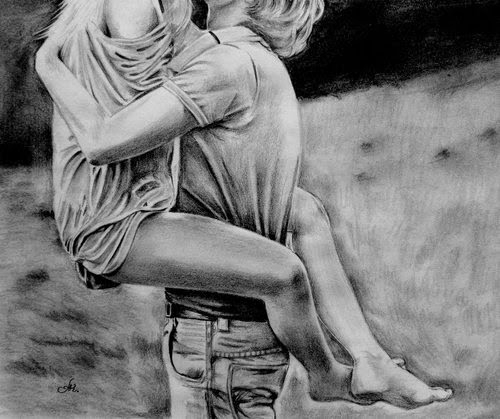 Romantic love drawing
