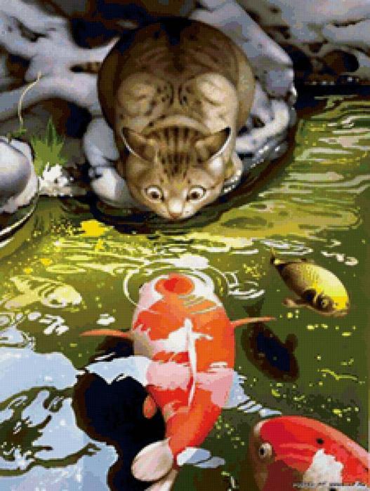 Кот и рыбки-2 (527x700, 439Kb)
