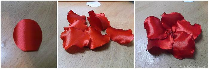 Лепестки роз из лент своими руками