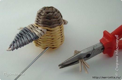 Плетение из газетных трубочек. Птичка СИНИЧКА (21) (520x342, 71Kb)