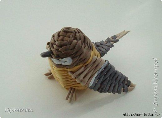 Плетение из газетных трубочек. Птичка СИНИЧКА (26) (520x378, 74Kb)