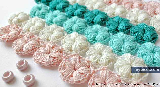 Crochet Flower Puff Pattern : Crochet Flower Puff Stitch Pattern. ?????????? ?? ...