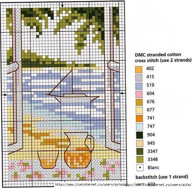 Вышивка окно на море 405