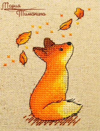 Вышивка крестом лисичек