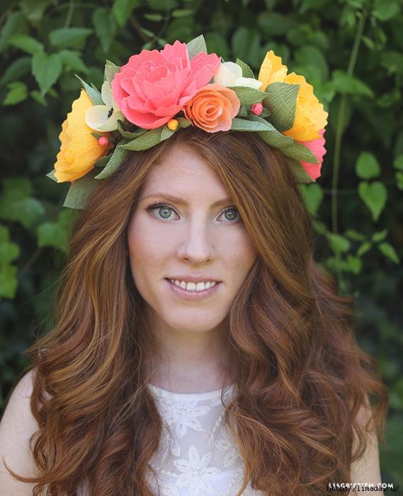 Цветы из гофрированной бумаги на голову своими руками