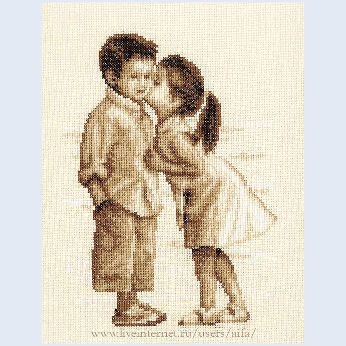 Вышивка крестиком девочка с мальчиком