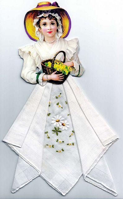 Винтажные открытки с дамами в юбках из носовых платков (1) (396x640, 157Kb)