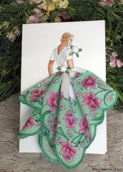 Винтажные открытки с дамами в юбках из носовых платков (4) (500x698, 238Kb)