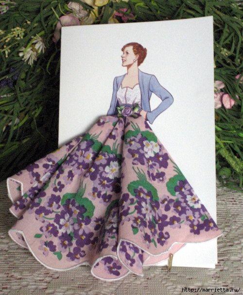Винтажные открытки с дамами в юбках из носовых платков (6) (500x608, 194Kb)