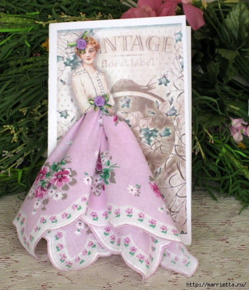 Винтажные открытки с дамами в юбках из носовых платков (12) (500x582, 203Kb)