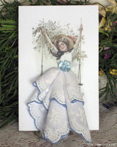 Винтажные открытки с дамами в юбках из носовых платков (14) (500x626, 225Kb)