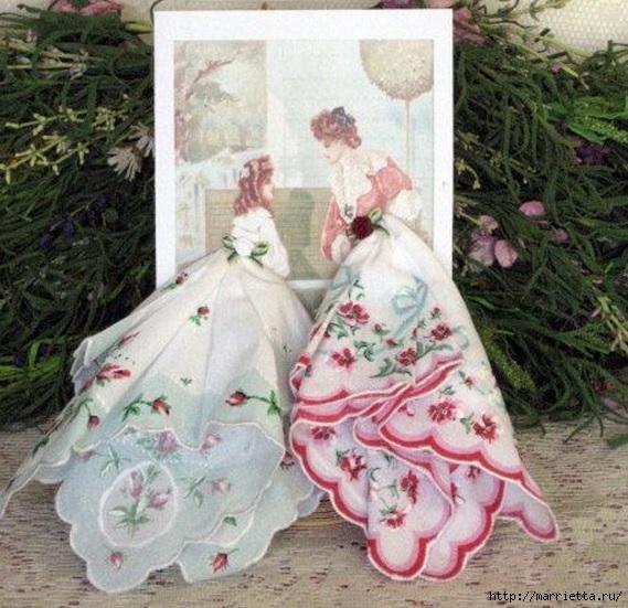 Винтажные открытки с дамами в юбках из носовых платков (20) (569x551, 220Kb)