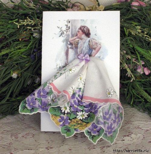 Винтажные открытки с дамами в юбках из носовых платков (34) (500x511, 204Kb)