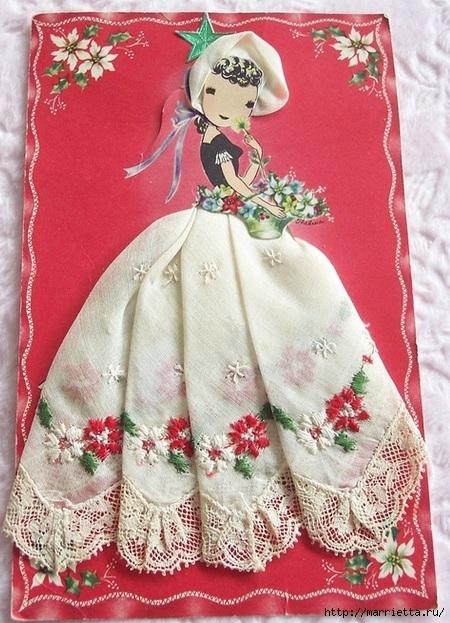 Винтажные открытки с дамами в юбках из носовых платков (53) (450x623, 245Kb)