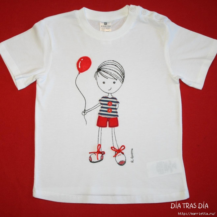 Аппликация с вышивкой на детских футболках (17) (700x699, 235Kb)