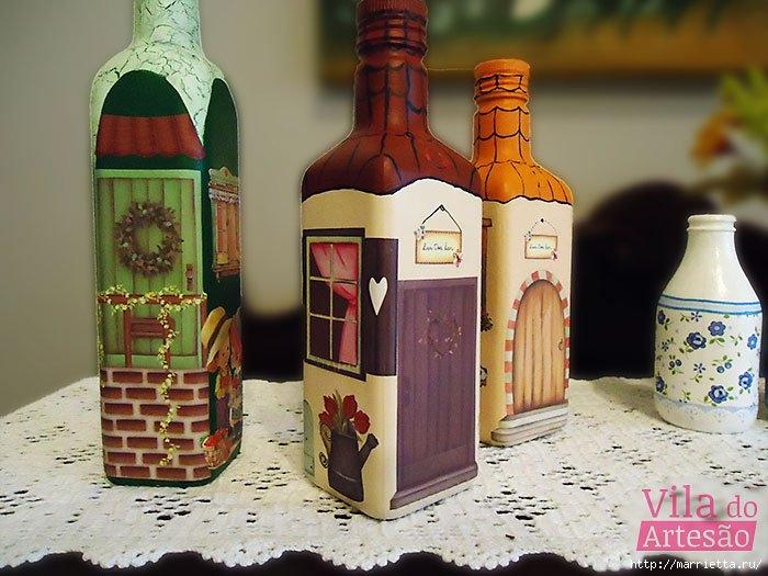 Декоративные бутылки с применением росписи акрилом и декупажа (5) (700x525, 216Kb)