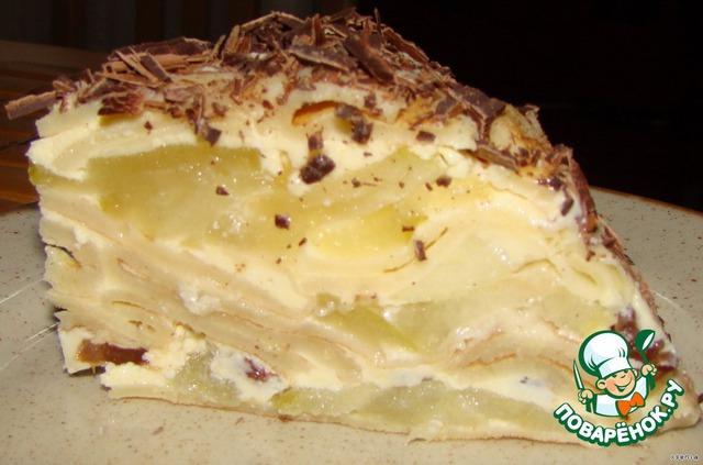 Торт блинный с творогом с фото пошагово