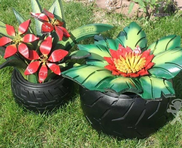 Цветы из колес своими руками