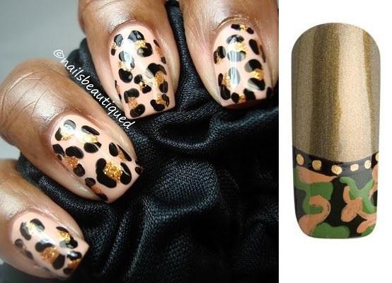 Рисунок леопарда на ногтях