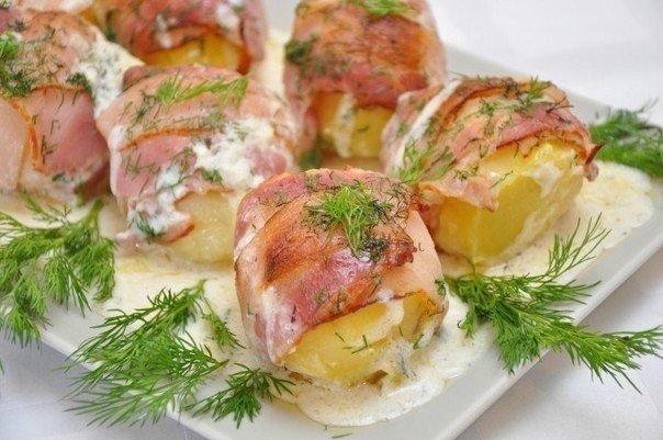 Картошка в беконовой одёжке