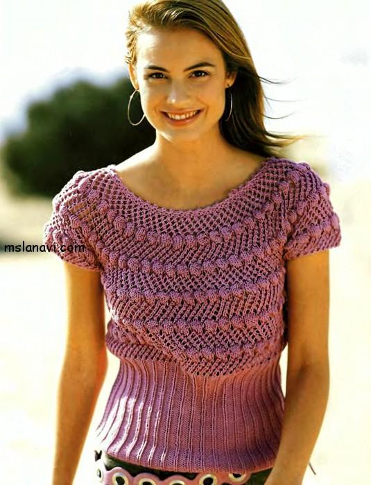 вязаный-летний-пуловер (535x699, 105Kb)