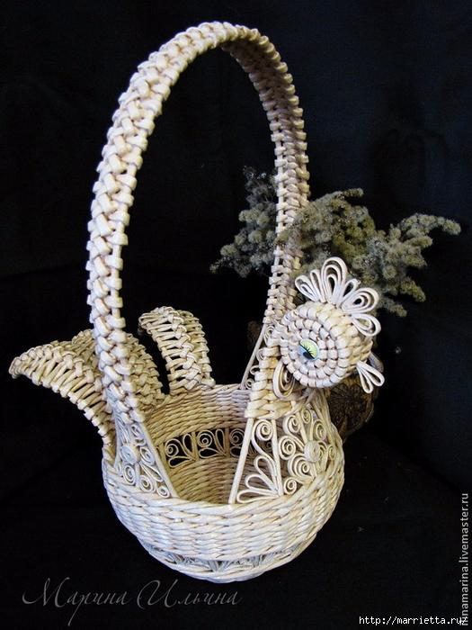 Плетение пасхальной корзинки КУРОЧКИ из газет. Мастер-класс (2) (525x700, 293Kb)