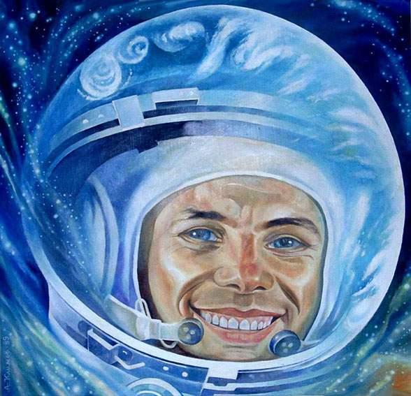 Звездное небо, как алмазное поле, Мысли и Память моя среди звезд!/1625406_Alexandr_Klimov_Gagarin (588x567, 57Kb)