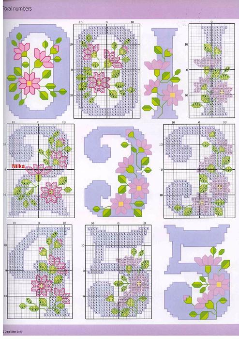 Схема вышивки чисел крестиком 47