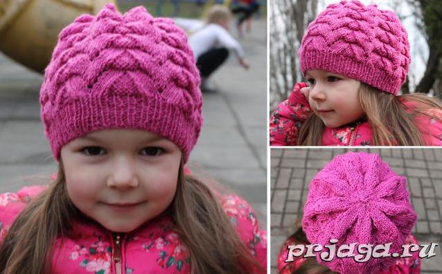 Вязание спицами шапок для девочек 5-6 лет 66