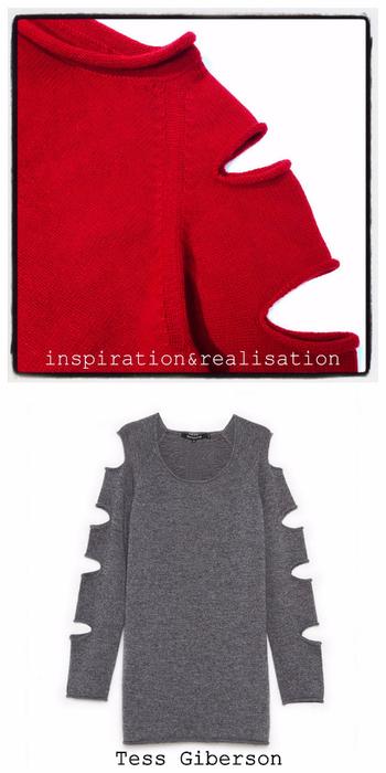 Женский пуловер спицами с прорезями на рукавах (2) (350x700, 201Kb)