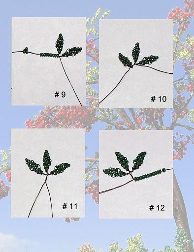 Рябинка из бисера.Автор - Ольга Кушелева.  Обратите внимание,что Ольга разработала схемку плетения семи листиков...