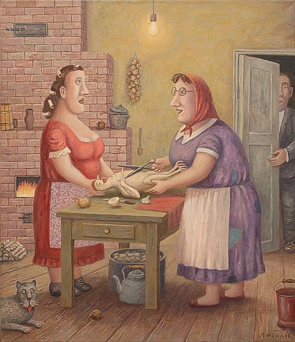 Владимир Любаров . Свекровь учит невестку готовить курицу (602x700, 363Kb)
