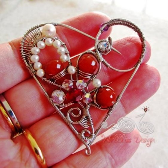 Wire Wrapped Heart Brooch - WireBliss Design 2 (561x561, 66Kb)
