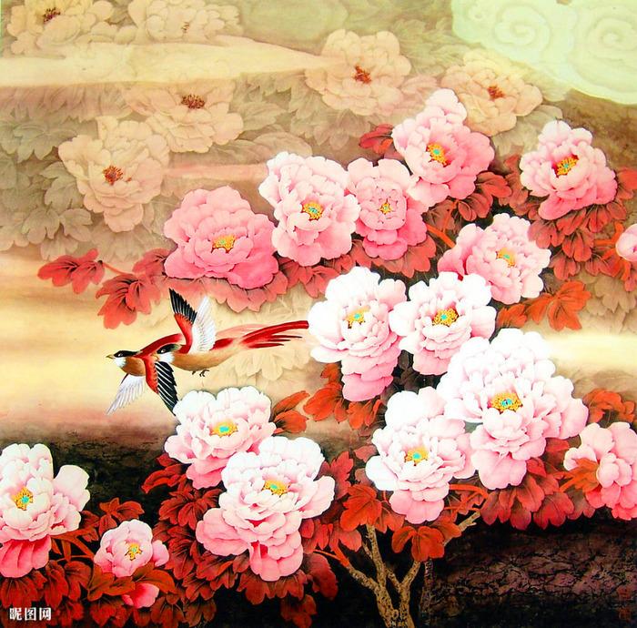 """Схема вышивки  """"Китайская живопись """" ."""