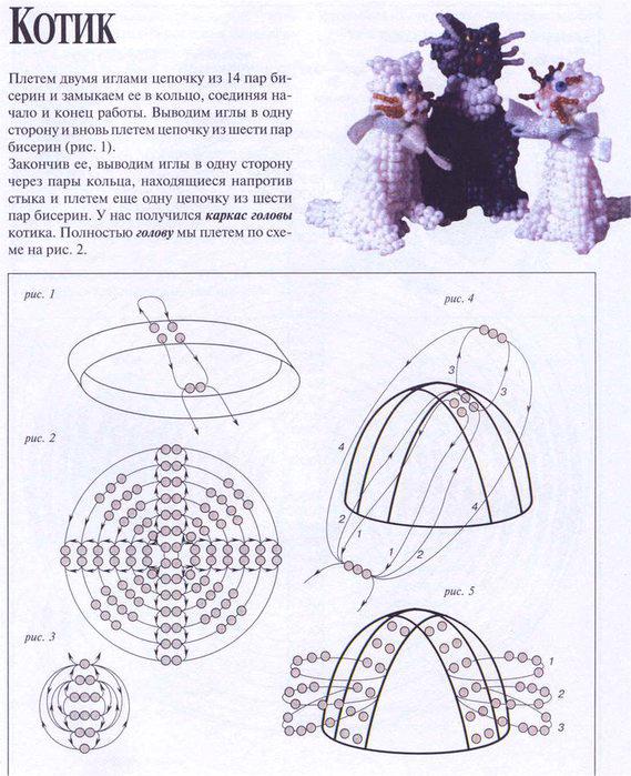 Схема плетения колокольчика из бисера.