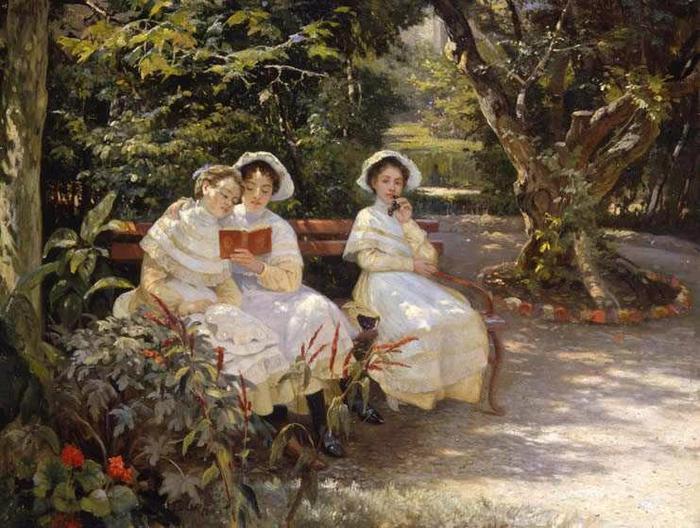 Мясоедов Г.Г. 1834-1911. Три сестры в парке. 1880-е г.г. (700x528, 76Kb)