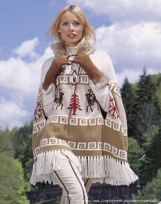 Mobil (kiçik).  Часть 11.  Куртка-пончо от Ники Эпстайн.  Жаккардовые шапочка с ушками.