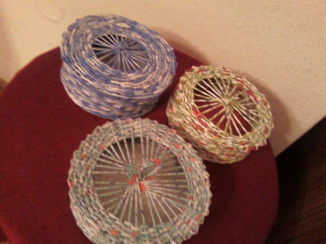Плетение круглых крышек для шкатулки