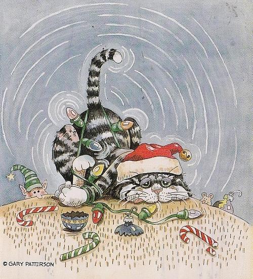 Katze erhängt sich mit Lichterkette (Stamps Happen - Gary Patterson) (500x551, 363Kb)