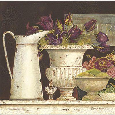 вышивка крестом бесплатные схемы Тюльпаны в старой вазе.