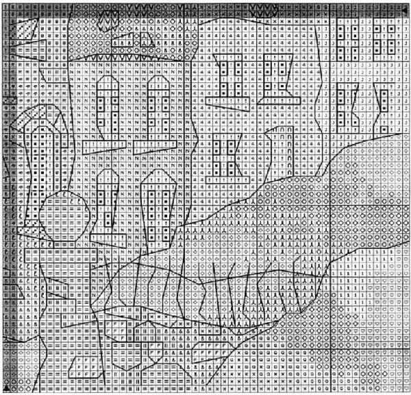 Схема вышивки кривых домиков